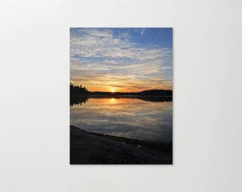 Nature Photography, Sunrise Landscape, Cloudy Reflection, Colorful Sun Print, Boundary Waters, Minnesota Canvas, Cloud Photo, Lake Picture