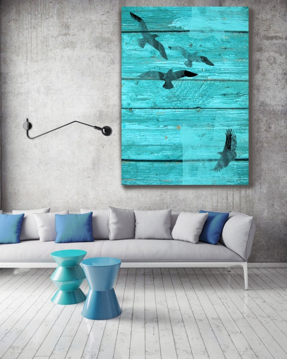 """Birds In Sky, Blue Rustic Rustic Canvas Wall Art Print, Birds Blue Black Rustic Coastal Wall Art Decor up to 72"""" by Irena Orlov"""