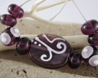 Purple glass shakers bead assortment