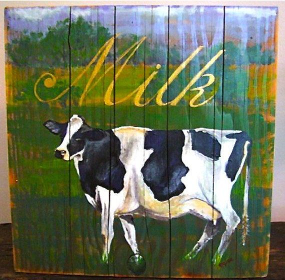 Cow original arylic painting on reclaimed rustic solid wood