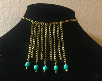 Turqoise and Gold Fringe Necklace