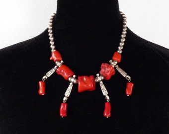 Handmade Tribal Necklace Red Coral Chunks with Vintage Silver Plated Beads
