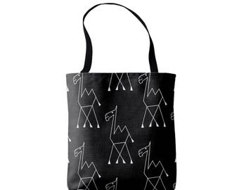 Camel Print Market Tote, Black and White African Boho Print Bag