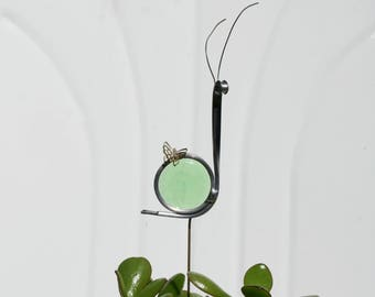 Stained Glass Green Snail Plant Stake, Garden Art