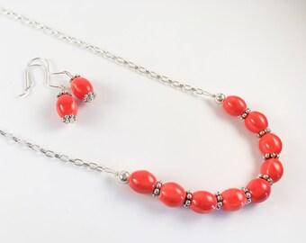 Ceramic Coral Necklace Set