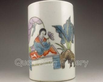 N4484 Vintage Chinese Wu Cai Porcelain Brush Pot