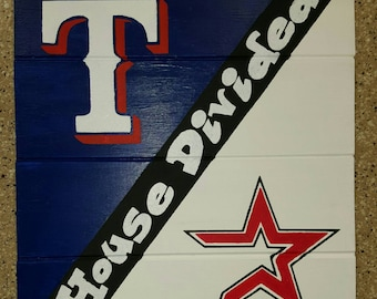 House Divided Rangers/Astros Wood Sign