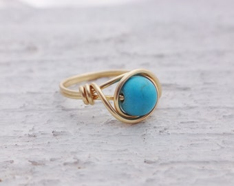 Gold wire ring, wire ring, gold ring, wire wrap ring, stone ring, blue stone ring, gemstone ring, turquoise stone ring, gemstone wire ring