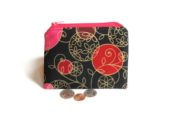 Change purse, zipper pouch, black red pink, coin pouch, credit card holder for women