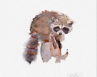 "Racoon Giclee Print 8x8"" Wall Decor Animal Art watercolor Prints office decor contemporary art"