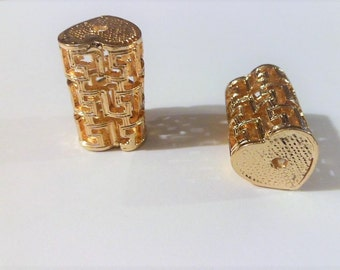 Labyrinth tube perforated filigree gold plated