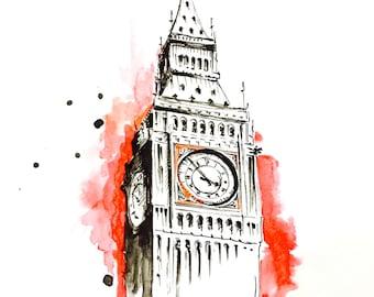 Big Ben LondonTravel Illustration - Art Print from Original Watercolor and Ink Painting - Lana's Art Wanderlust