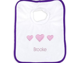 Personalized Baby Girl Bib with Three Hearts