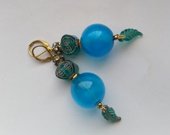 Natural Blue Large Sphere Earrings with Tribal Beads, Rhinestone Rondelles, Royal Blue Leaves, GP Leverback - Exotic Blues by enchantedbeads