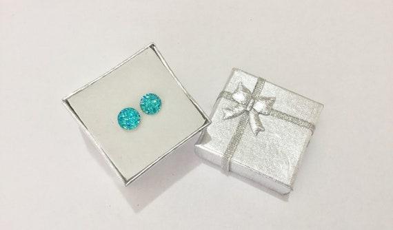 Turquoise Blue Aqua Green Rock Crystal Druzy Earrings Pierced studs 8mm Hypoallergenic Titanium Allergy safe Wedding Jewelry Minimalist Gift