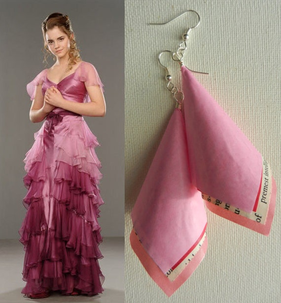Items similar to Hermione Granger Yule Ball Origami Vintage Paper Earrings  on Etsy