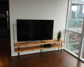 Industrial pipe and wood TV stand || entertainment unit || shelf