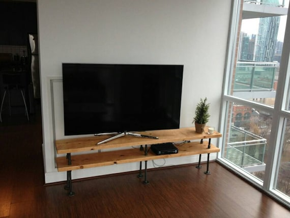 industrial pipe and wood tv stand entertainment unit. Black Bedroom Furniture Sets. Home Design Ideas
