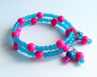 Pink and Turquoise memory wire bracelet/jewelry/gift under 20/beaded bracelet