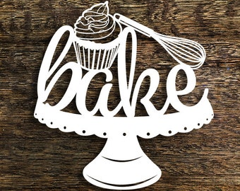 Papercut Template 'Bake' Kitchen Wall Art PDF JPEG for handcut & SVG for Cutting Machines