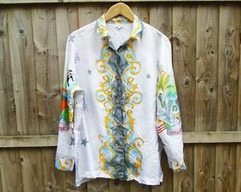 Vintage Shirt - Blouse - Silk - Americana - Oversized - Long Sleeved - 90's