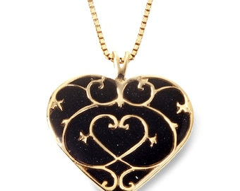 """Heart Fleur de Lis Necklace – Gold Plated Sterling Silver Handmade Black Polymer Clay Pendant - 16.5"""" Chain"""