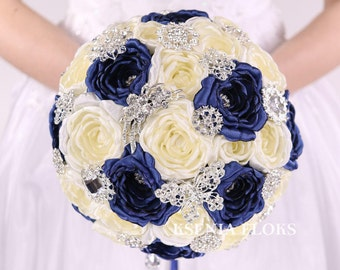Navy Blue Bouquet, Brooch Bouquet, Ivory and Navy Blue Bouquet, Dark Blue Fabric Bouquet, Wedding Bouquet, Bridal Bouquet, Broach Bouquet