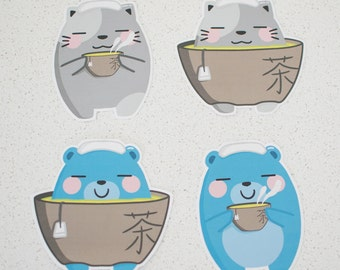 Green Tea Bear and Cat Stickers