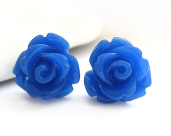SALE - Royal Blue Rose Stud Earrings