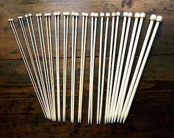 9 Inch Bamboo Knitting Needle Set - Size 1 through 3