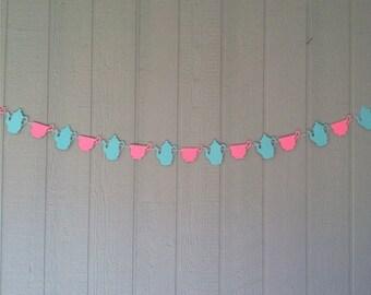 Tea Party Garland - Tea Party Birthday - Pink/Aqua Tea Party - Tea Party Birthday - Photo Prop - Tea Time Party - Teacup/Teapot Garland