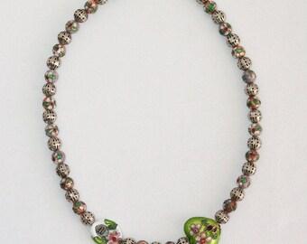 "Vintage Cloisonne Beaded Choker Necklace Metal Pierce Work and Enamel Beads 17"""