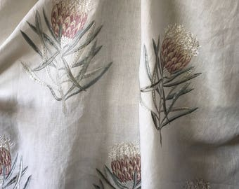 Sanderson Protea Flower Embroidered Linen Fabric priced per meter