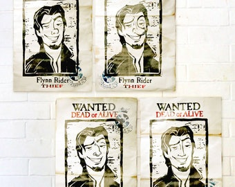 Flynn Rider Wanted Poster from Tangled - Pack of 4