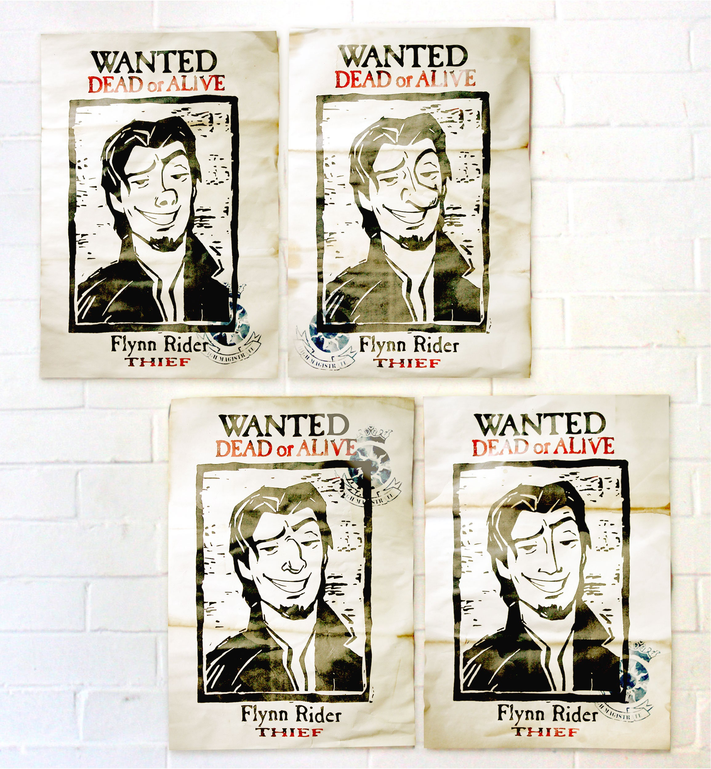 Flynn Rider wollte Poster von verwirrt 4er Pack