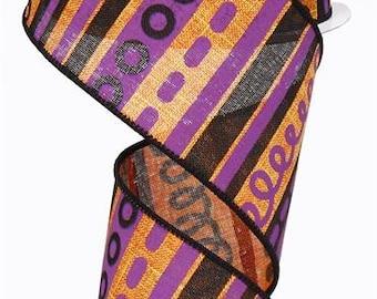 "2.5"" Orange Black Purple Halloween Ribbon, Orange Purple Black Loopy Stripes Ribbon,  Halloween Ribbon, Wired Ribbon (10 Yards) - RG01318RW"