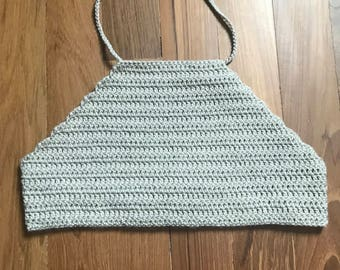 Crocheted beige halter/ bikini top