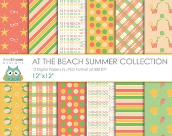 """At the Beach Summer 12""""x12"""" Digital Papers"""