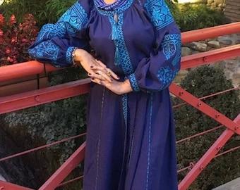 Beautiful Boho Women Dress Linen Dress with Geometric Ukrainian Vyshyvanka Maxi Dress Ukrainian Style Chic Ethnic dress Modern Folk