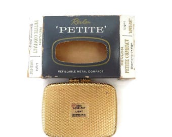 """Revlon Compact - Vintage Petite """"Love-Pat"""" - Diamond Design Refillable Compact, Van Cleef and Arpels, New Old Stock, Collector's Compact"""