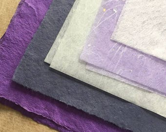 Small pieces Purple, lilac & Whites mixed paper, sample pack, Japanese tissue, lavender assorted papers, lime green paper, nepalese lokta,