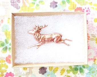 Rose Gold Reindeer Brooch - Rose Gold Deer Brooch - Forest Animal Pin - Woodland Brooch - Forest Friend - Stag Brooch - Deer Brooch
