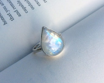 Blue Moon - Large Moonstone Teardrop Sterling Silver Ring