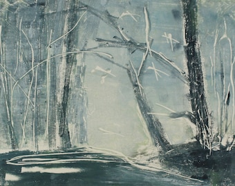"""Original image, Monotype """"Woodland 35"""", sheet size 30 x 40 cm, motif size 20 x 30 cm, trees, forest, abstract landscape, night"""