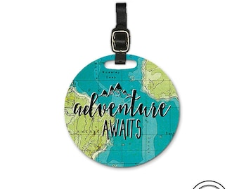 Adventure Awaits Round Luggage Tag, Single tag with Strap 3.5 Inch Round Custom Text on Back