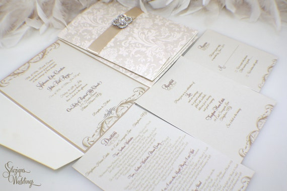 vintage gatefold ivory pearl invitations wedding large lace invitation product box with brooch