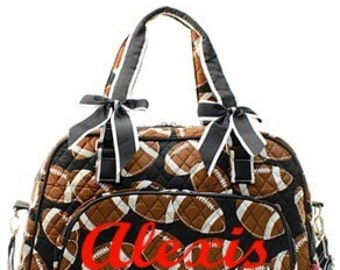Sports duffle bag quilted w/detachable bows FREE Monogram/Name -Travel bag, Tote bag, weekender overnight bag, Football, Baseball, Softball