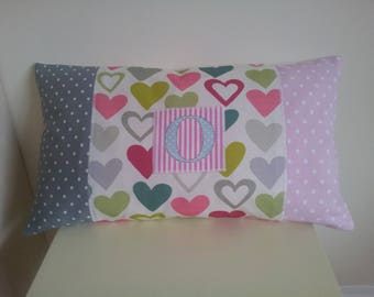 Cushion Cover Only with Letter 'O' Appliqued on front. Lumbar/Rectangular Heats/Spots/Stripes 20 by 12 inches.