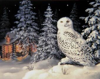 """Snowy OWL wildlife bird print by RUSTY RUST 11"""" x 17"""" heavy paper, 11"""" x 14.25"""" appx. image  size / O-33-P"""