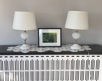Mid century bedside table lamps // Pair hobnail milk glass lamps